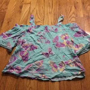 Girls short sleeve shirt with straps